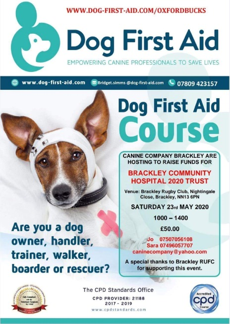 Canine first aid course 23rd May